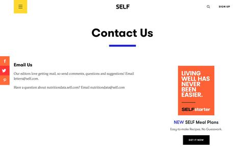 Screenshot of Contact Page self.com - Contact Us | SELF - captured May 22, 2019