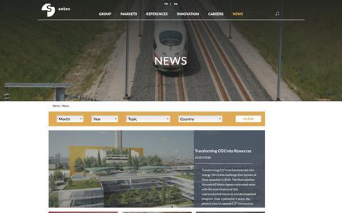 Screenshot of Press Page setec.fr - News - SETEC - captured July 25, 2018