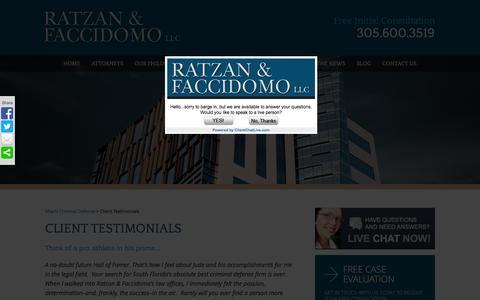 Screenshot of Testimonials Page rflawgroup.com - Miami Criminal Defense Attorney | Testimonials - captured Feb. 13, 2016