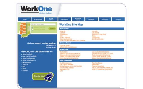 Screenshot of Site Map Page work-one.org - WorkOne Site Map, WorkOne - captured Oct. 1, 2014