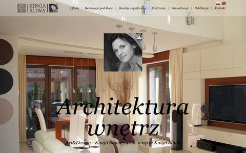 Screenshot of Home Page kingasliwa.pl - Architektura i Aranżacja Wnętrz - Kraków, Śląsk - Architekt Wnętrz Kinga Śliwa - captured June 20, 2015