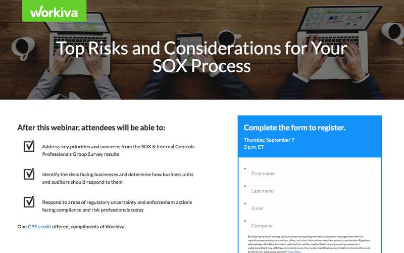 Top Risks and Considerations for Your SOX Process | Workiva