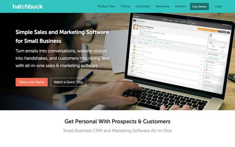 Screenshot of Home Page hatchbuck.com - Small Business CRM & Marketing Software All-In-One - captured May 28, 2016