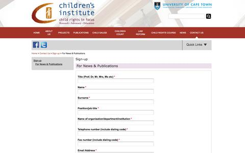 Screenshot of Signup Page uct.ac.za - For News & Publications         | Children's Institute - captured Feb. 25, 2018