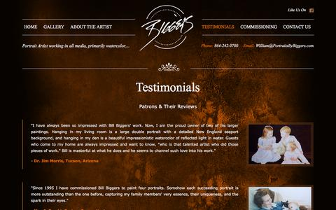 Screenshot of Testimonials Page portraitsbybiggers.com - Testimonials | Portraits By Biggers - captured Jan. 24, 2016