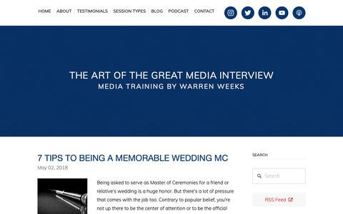 Screenshot of Blog mediatrainingtoronto.com - The Art of the Great Media Interview - captured Oct. 18, 2018