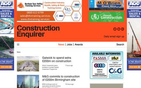 Screenshot of Press Page constructionenquirer.com - News |  Construction Enquirer - captured July 16, 2016