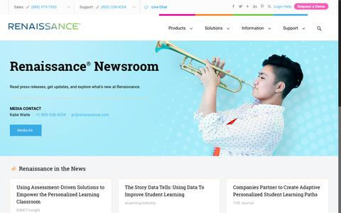 Screenshot of Press Page renaissance.com - Renaissance news and media - Edtech educational software - captured Oct. 7, 2017