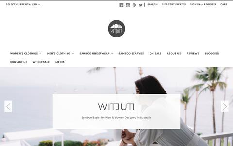 Screenshot of Home Page witjuti.com - Witjuti Bamboo Clothing | For Men and Women I Designed in Australia - captured Sept. 27, 2018