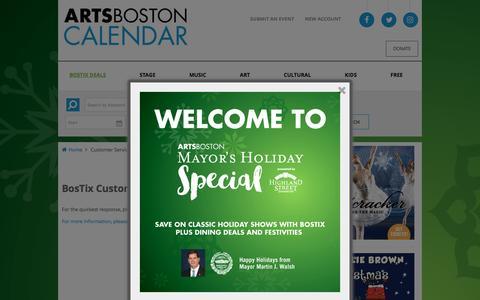 Screenshot of Support Page artsboston.org - Customer Service | ArtsBoston Calendar - captured Dec. 4, 2016