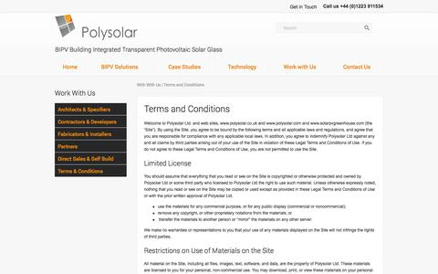 Screenshot of Terms Page polysolar.co.uk - Terms & Conditions PolySolar Solar PV BIPV  Glass Specialists - captured Oct. 3, 2014