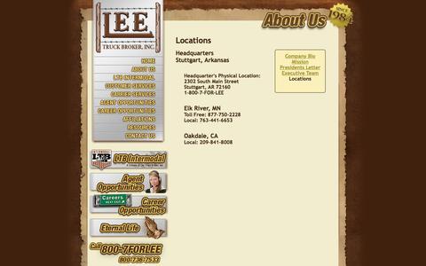 Screenshot of Locations Page leetruckbroker.com - Lee Truck Broker - About Us: Select a Location - captured Jan. 28, 2016