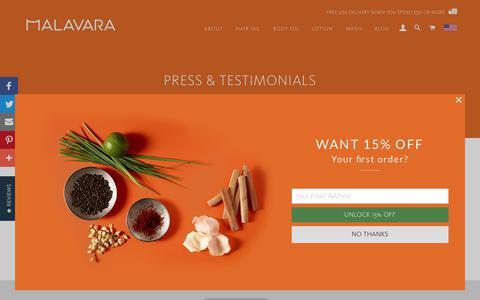 Screenshot of Press Page malavara.com - Press & Testimonials – Malavara - captured July 25, 2018