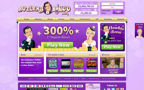Screenshot of Home Page butlersbingo.com - Online Bingo Site Butlers Bingo - Play Free No Deposit Bingo Games - captured Sept. 23, 2014