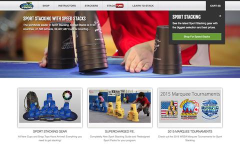 Screenshot of Home Page speedstacks.com - Speed Stacks - The Official Cup of the World Sport Stacking Association (Sport Stacking) - captured Jan. 26, 2015