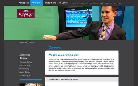 Screenshot of Jobs Page roanoke.edu - Careers | Roanoke College - captured Sept. 22, 2018