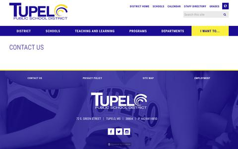 Screenshot of Contact Page tupeloschools.com - Contact Us - Tupelo Public School District - captured Nov. 12, 2017