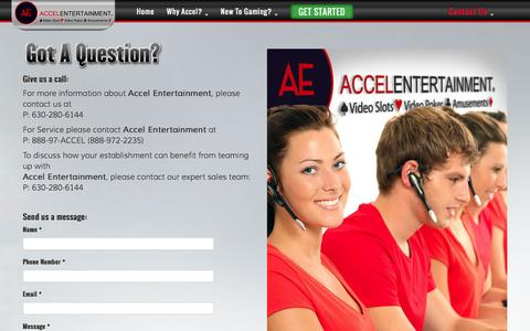 Screenshot of Contact Page FAQ Page accelentertainment.com - Got a Question? | Accel Entertainment - captured Dec. 23, 2015