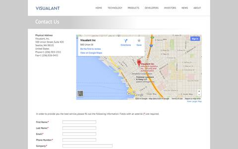 Screenshot of Contact Page visualant.net - Visualant - Contact - Get in touch with us - captured Sept. 12, 2014