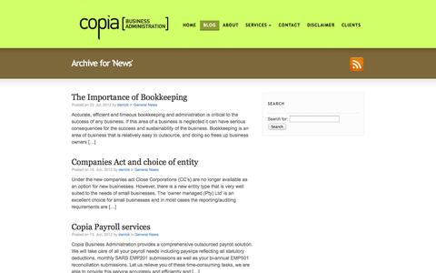 Screenshot of Blog copia.co.za - News | Bookkeeping in Cape Town - captured Oct. 3, 2014