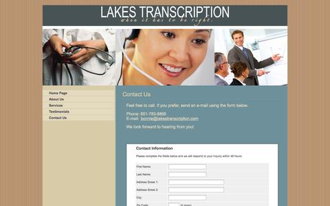 Screenshot of Contact Page lakestranscription.com - Contact Us - captured Sept. 27, 2014