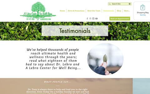 Screenshot of Testimonials Page alebrocenter.com - Patient Testimonials A Lebro Center for Well Being, Kittery Maine - captured Sept. 27, 2018