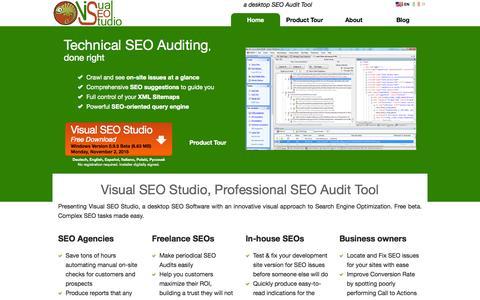 Screenshot of Home Page visual-seo.com - Visual SEO Studio, Professional SEO Audit Tool - captured Nov. 21, 2015