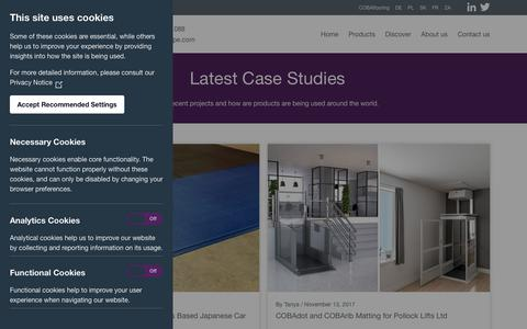 Screenshot of Case Studies Page cobaeurope.com - Case Studies - COBA Europe - captured July 14, 2018