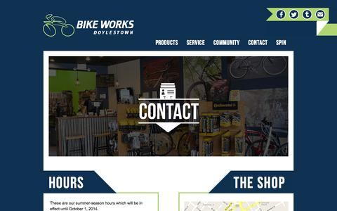 Screenshot of Contact Page Hours Page doylestownbikeworks.com - Contact | Doylestown Bike Works - captured Oct. 23, 2014
