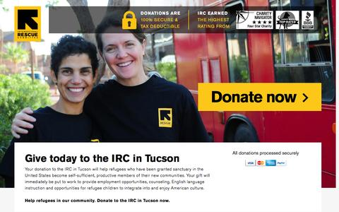 Screenshot of Landing Page rescue.org - Give today to the IRC in Tucson | International Rescue Committee - captured Nov. 27, 2016