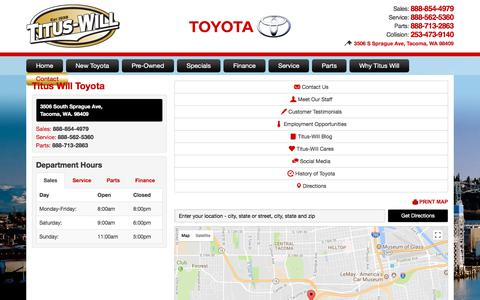 Screenshot of Contact Page Maps & Directions Page tituswilltoyota.com - Location and directions - Titus-Will Toyota in Tacoma WA - captured Nov. 13, 2017