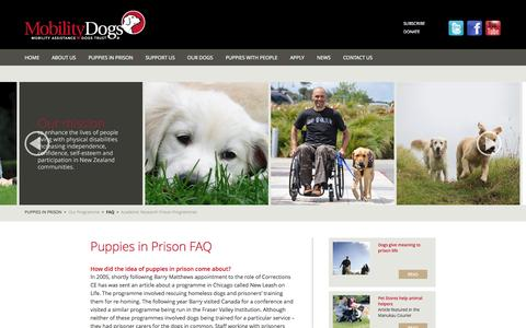 Screenshot of FAQ Page mobilitydogs.co.nz - Mobility Assistance Dogs Trust - FAQ - captured Oct. 7, 2014