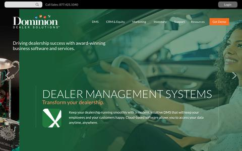 Screenshot of Home Page drivedominion.com - Home | Dominion Dealer Solutions - captured Sept. 22, 2018