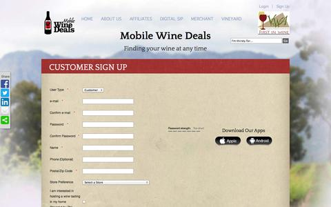 Screenshot of Signup Page mobilewinedeals.com - Customer Sign Up | Mobile Wine Deals - captured Oct. 9, 2014