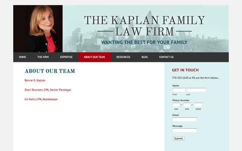 Screenshot of Team Page kaplanfamilylaw.com - About Our Team - Kaplan Family Law - captured Sept. 30, 2014