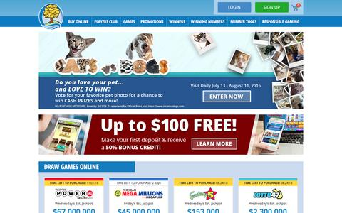 Screenshot of Home Page michiganlottery.com - Home | Michigan Lottery - captured Aug. 10, 2016