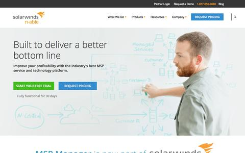 Screenshot of Home Page n-able.com - RMM Software & Tools – IT Management Solutions | N-Able - captured Oct. 1, 2015