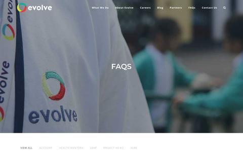 Screenshot of FAQ Page evolvesi.com - FAQs | Evolve - captured Dec. 12, 2017