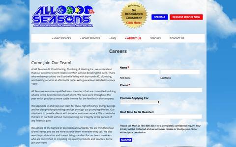 Screenshot of Jobs Page californiaaccompany.com - Best Careers | All Seasons - captured Feb. 5, 2016