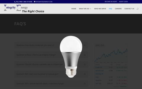 Screenshot of FAQ Page integenergy.com - Faq's | Integrity Energy - captured Oct. 12, 2018