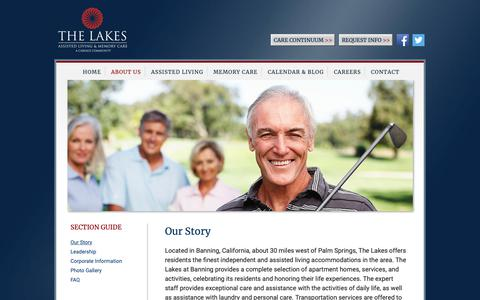 Screenshot of About Page thelakesatbanning.com - Assisted Living & Memory Care | Palm Springs, CA | The Lakes at Banning - captured Oct. 24, 2018
