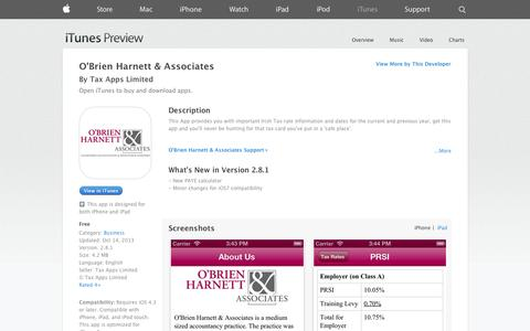 Screenshot of iOS App Page apple.com - O'Brien Harnett & Associates on the App Store on iTunes - captured Oct. 26, 2014