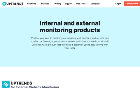 Screenshot of Products Page uptrends.com - Monitoring Products - Uptrends - captured Nov. 9, 2019