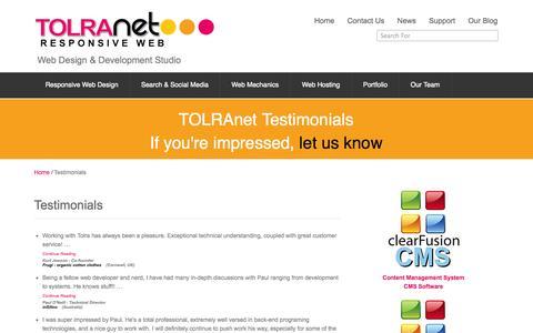 Screenshot of Testimonials Page tolranet.com - Testimonials - captured Oct. 6, 2014