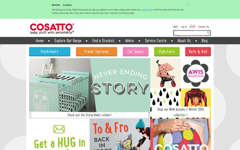 Screenshot of Home Page cosatto.com - Cosatto Pushchairs, Travel Systems, Car Seats and more | Cosatto - captured July 25, 2015