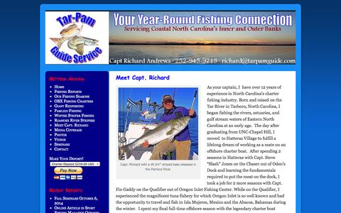 Screenshot of About Page tarpamguide.com - Tar-Pam Guide Service Captain's BioTar-Pam Guide Service - captured Oct. 7, 2014