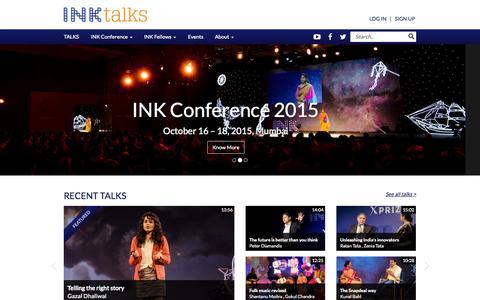 Screenshot of Home Page inktalks.com - Innovational Talks | Inspirational Talks & Videos | Motivational Speakers - The INK Conference - The INK Conference - captured Jan. 28, 2015