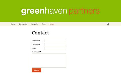 Screenshot of Contact Page greenhavenpartners.com - Contact | Greenhaven Partners - captured Sept. 30, 2014