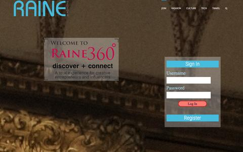 Screenshot of Signup Page rainemagazine.com - Raine 360 - Raine Magazine - captured Jan. 12, 2016