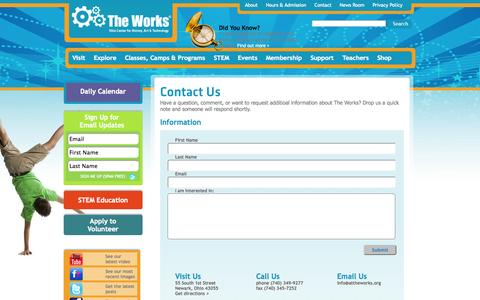 Screenshot of Contact Page attheworks.org - Contact The Works - captured Oct. 7, 2014